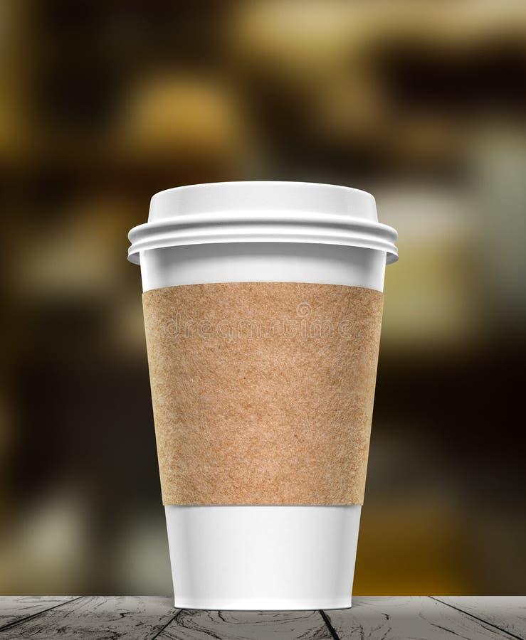 Realistisk pappers- tolkning för kaffekopp 3d arkivfoton