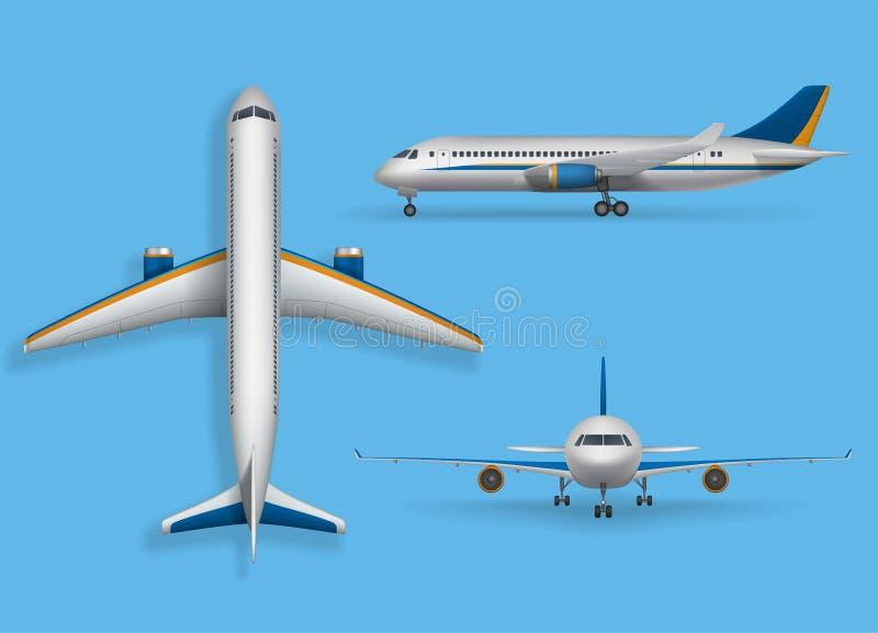 Realistisk passagerareflygplanåtlöje upp, trafikflygplan i överkanten, sida, främre sikt Modernt flygplanflyg på blått stock illustrationer