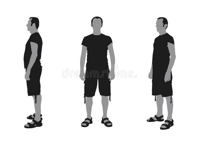 Realistisk plan illustration av en mankontur med kortslutningar och royaltyfri illustrationer