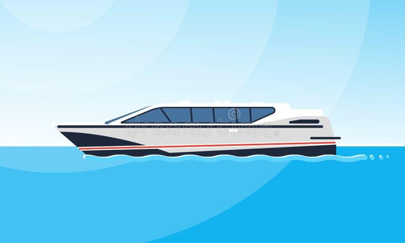 Realistisk plan stilillustration av sidosikten av den vita motorbåten på vattnet Modern skeppbild p? det enkelt stock illustrationer
