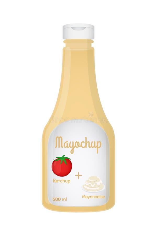 Realistisk plast- flaska för vektor 3d med mayochupsås - majonnäs och ketchup royaltyfri illustrationer