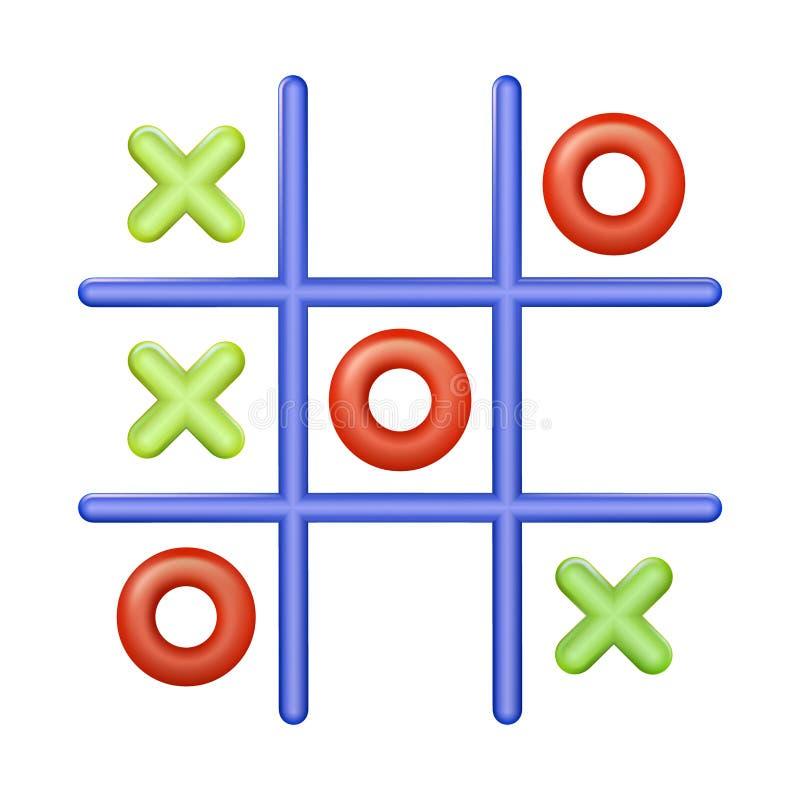 Realistisk plast- mång- kulör leksakmuskelryckning Tac Toe Kors-noll med gröna färger som är röda och också vektor för coreldrawi vektor illustrationer