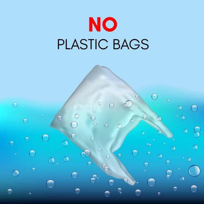 realistisk plastpåse 3D som simmar i vattnet bag inget plastic tecken royaltyfri illustrationer