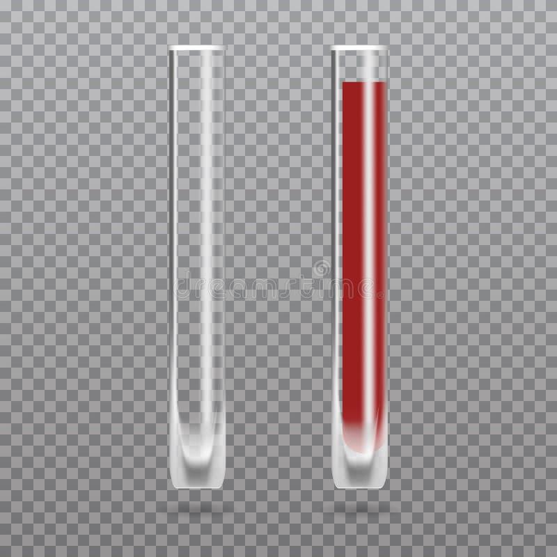 Realistisk provrör med blod hematology royaltyfri illustrationer