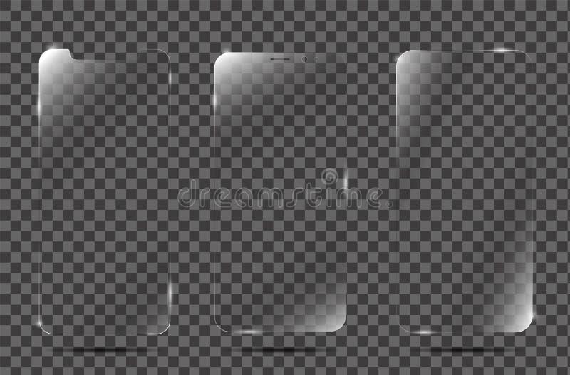 Realistisk räkning för film för beskyddande för skärm för vektor glass eller Skärmbeskyddandeexponeringsglas royaltyfria bilder