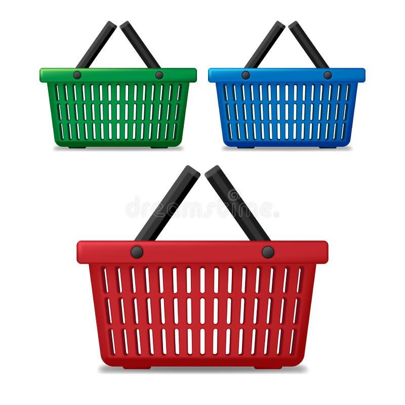 Realistisk röd, blå och grön tom isolerad supermarketshoppingkorg Korgmarknadsvagn som är till salu med handtag vektor illustrationer