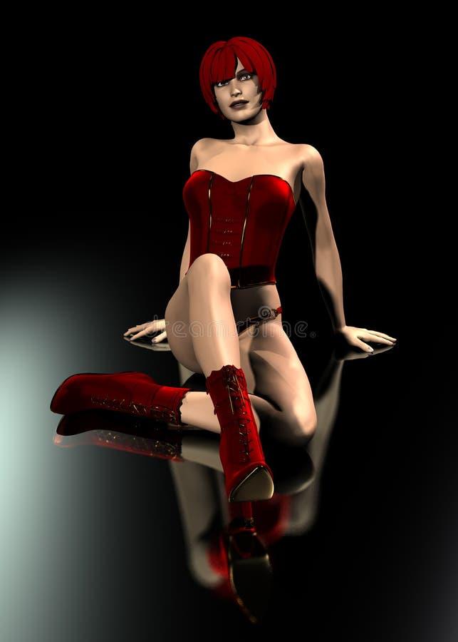 realistisk röd kvinna för klänning 3d royaltyfri illustrationer