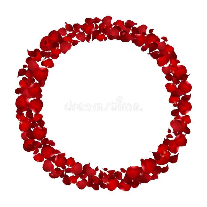 Realistisk röd ram för roskronbladcirkel, blommavektor stock illustrationer