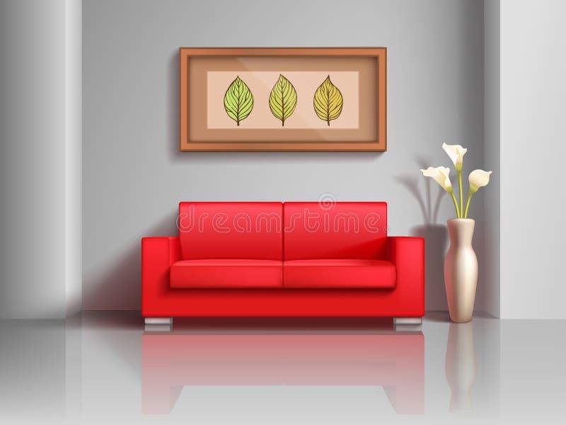 Realistisk röd soffa och blomkruka i inre vektorillustration för vardagsrum vektor illustrationer