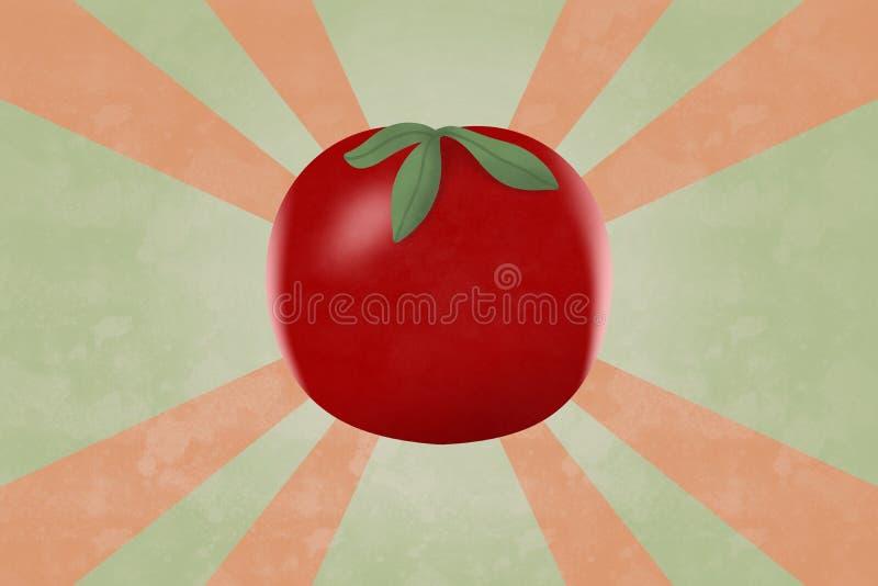 Realistisk röd tomat på retro stilgrungebakgrund stock illustrationer