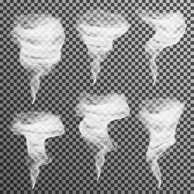 Realistisk rökvektor på genomskinlig bakgrund vektor illustrationer