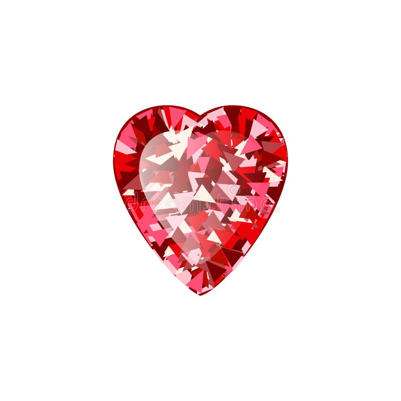 Realistisk r?d rubindiamant p? vit bakgrund Vektorillustration av den scharlakansr?da gemstonen stock illustrationer