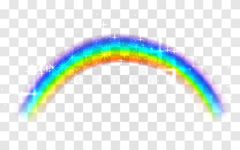 Realistisk regnb?ge Abstrakt färgrik regnbågemall på genomskinlig bakgrund stock illustrationer