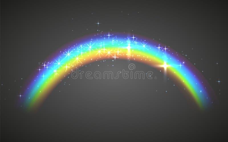 Realistisk regnb?ge Abstrakt färgrik regnbågemallbakgrund royaltyfri illustrationer