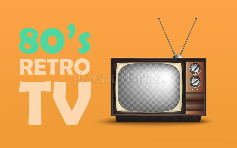 Realistisk Retro tappningTV Med text vektor vektor illustrationer