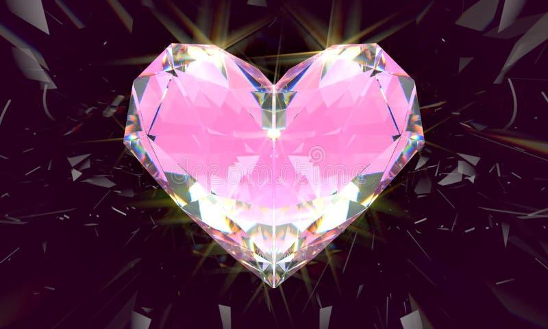 Realistisk rosa diamant med småelakt ljus på svart bakgrund royaltyfri illustrationer