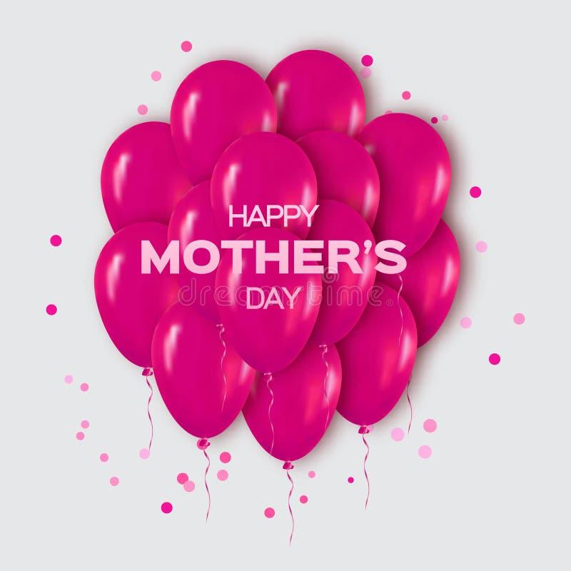 Realistisk rosa grupp 3d av ballonger som flyger för parti och berömmar med konfettier royaltyfri illustrationer