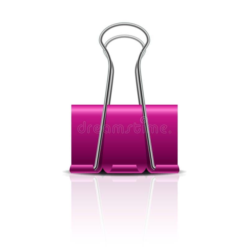 Realistisk rosa pappers- kl?mma som 3D isoleras p? vit bakgrund Designbest?ndsdel f?r ditt aff?rsprojekt royaltyfri illustrationer