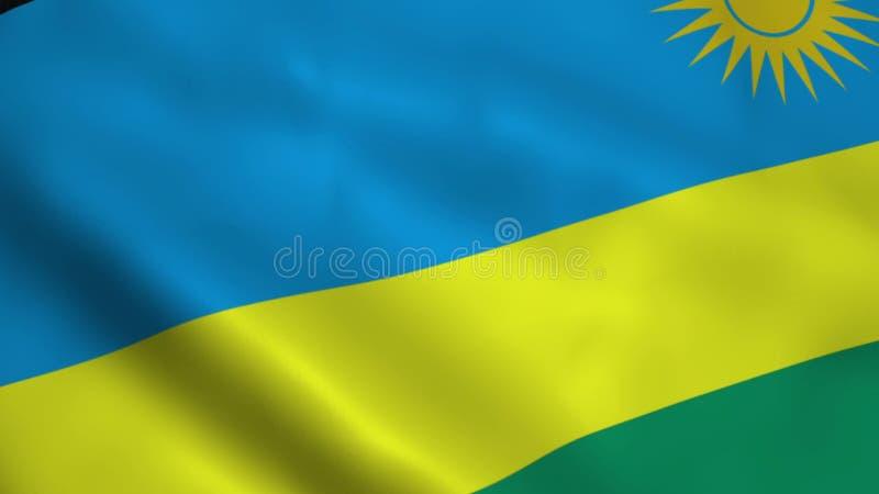 Realistisk Rwanda flagga stock illustrationer