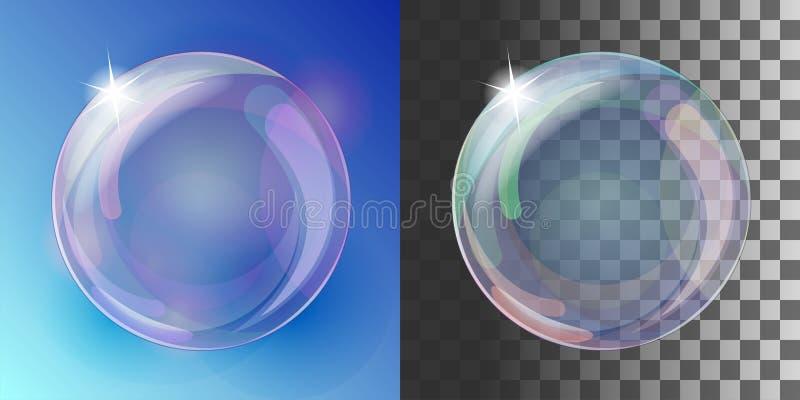 Realistisk såpbubbla med regnbågefärger stock illustrationer