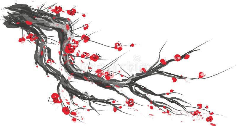 Realistisk sakura blomning - japanskt körsbärsrött träd som isoleras på vit bakgrund royaltyfri illustrationer