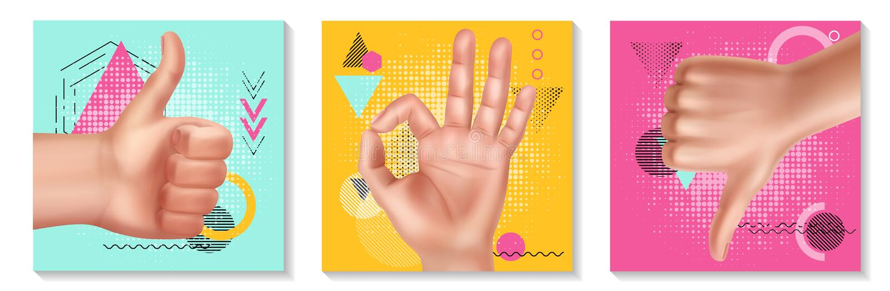 Realistisk samling för handgester stock illustrationer