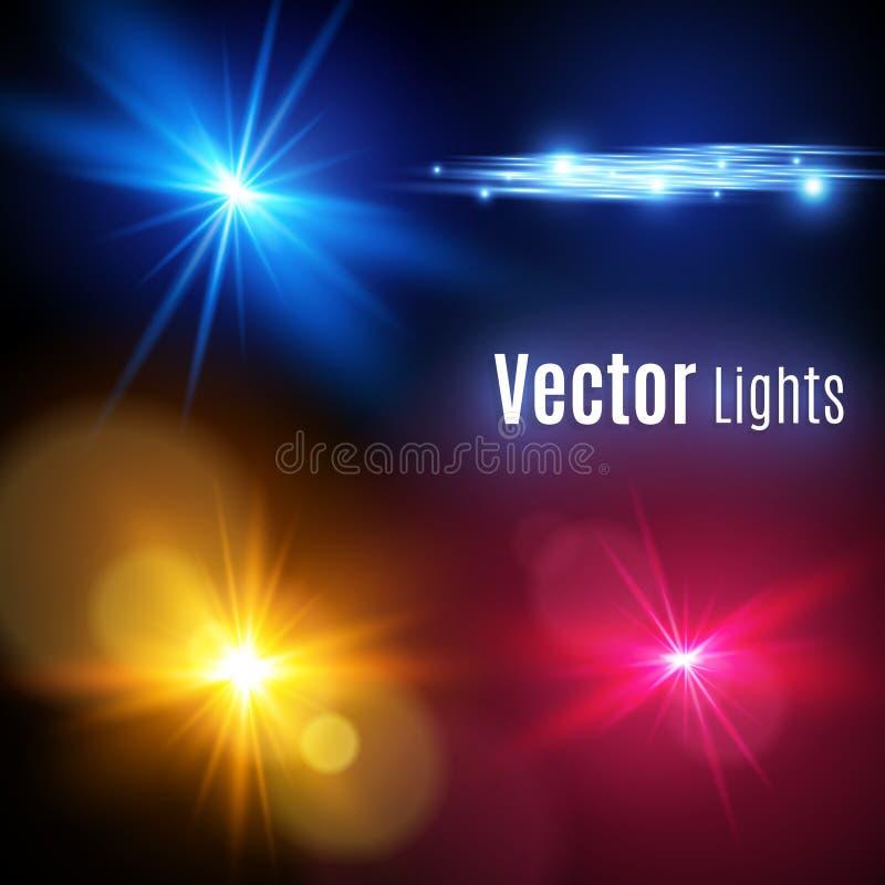 Realistisk samling för Lens signalljusbeståndsdelar Genomskinlig design för ljus effekt gult glödande ljus exploderar vektor royaltyfri illustrationer