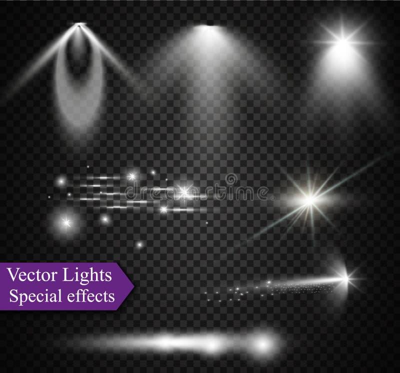 Realistisk samling för Lens signalljusbeståndsdelar Genomskinlig design för ljus effekt också vektor för coreldrawillustration stock illustrationer