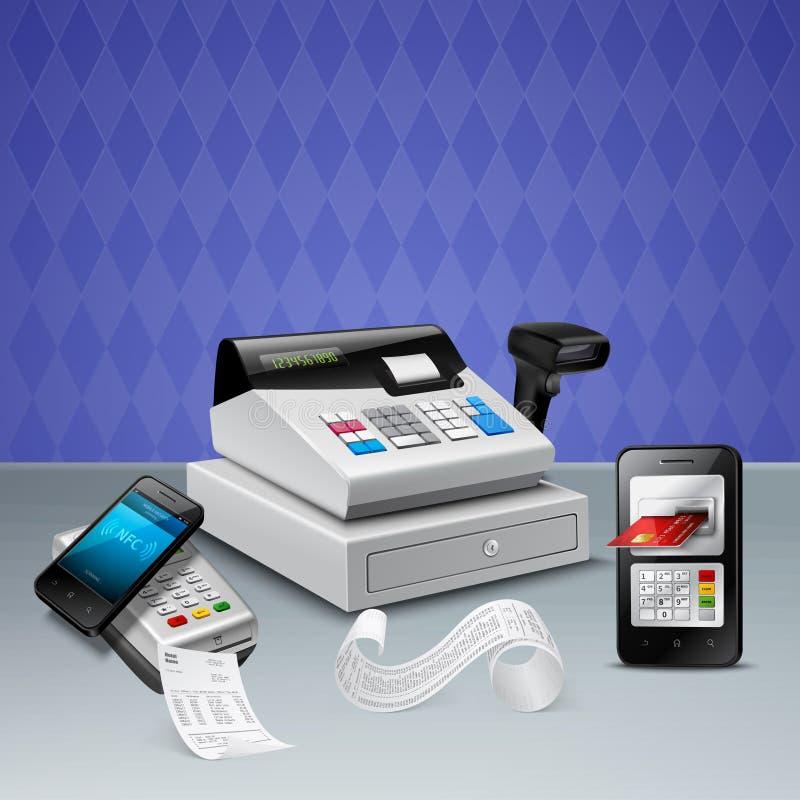 Realistisk sammansättning för elektronisk betalning stock illustrationer