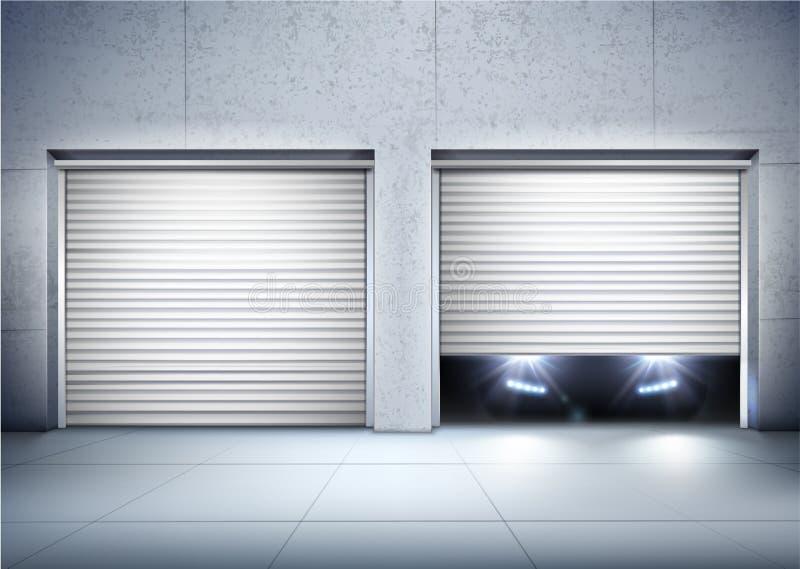 Realistisk sammansättning för garage royaltyfri illustrationer