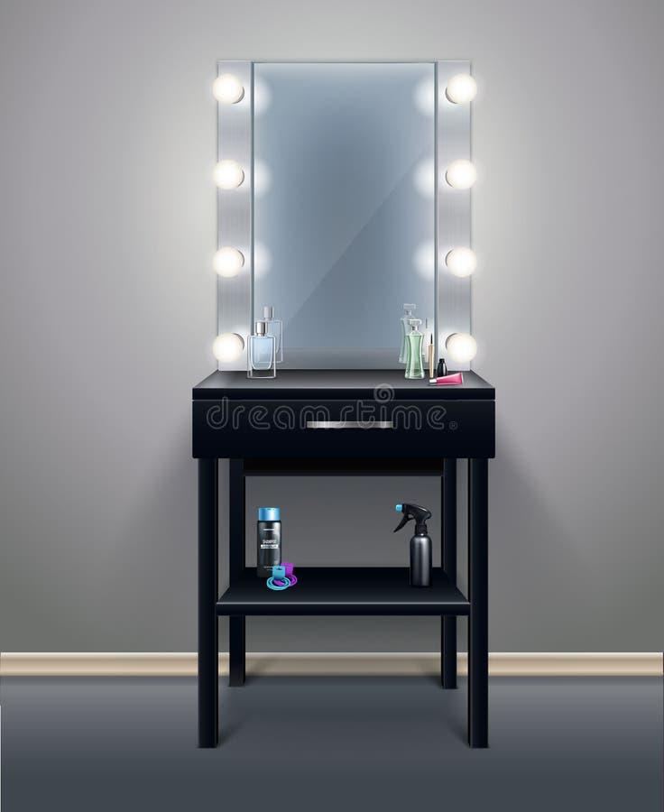 Realistisk sammansättning för makeupspegel royaltyfri illustrationer