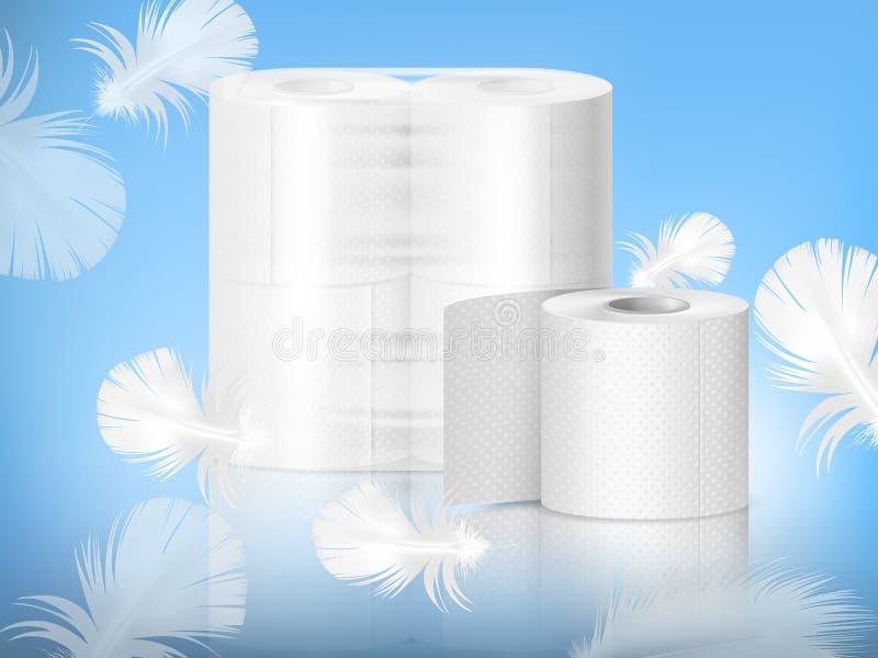 Realistisk sammansättning för toalettpapper stock illustrationer