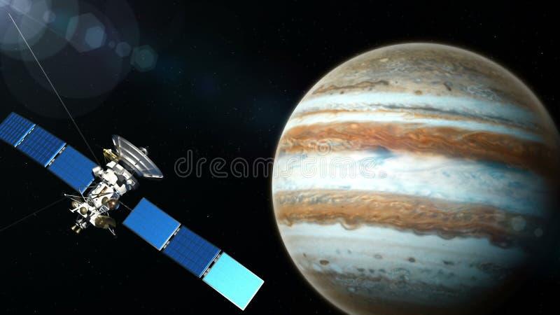 Realistisk satellit i låg Jupiteromlopp arkivfoton
