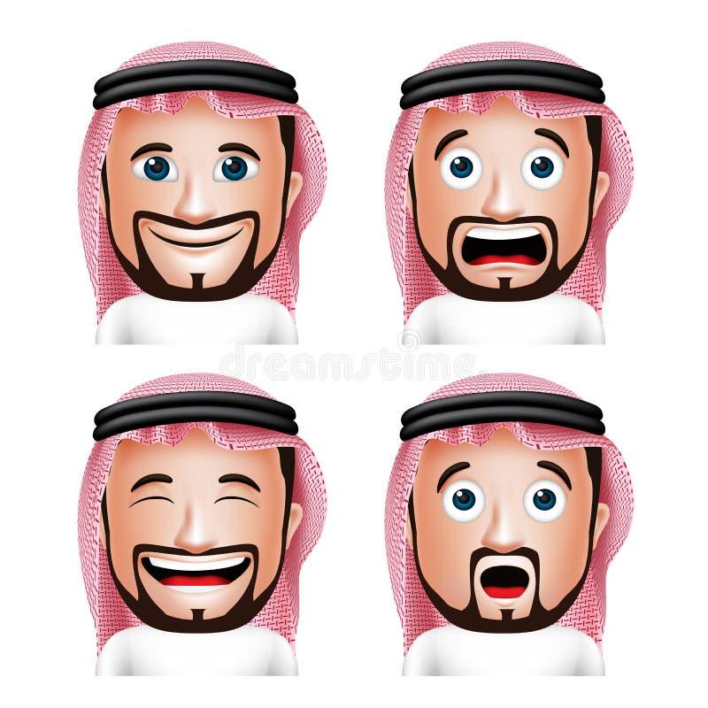 Realistisk saudier - arabiskt manhuvud med olika ansiktsuttryck stock illustrationer