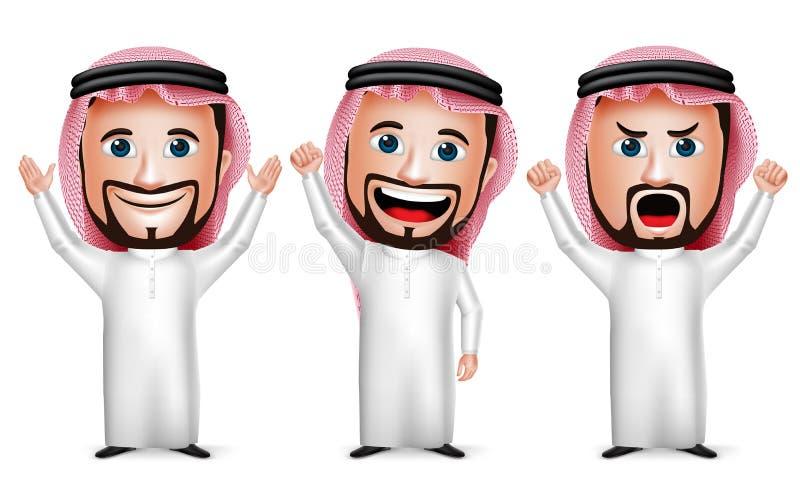 realistisk saudier 3D - det arabiska mantecknad filmteckenet som lyfter händer gör en gest upp stock illustrationer