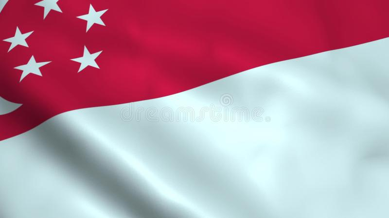 Realistisk Singapore flagga royaltyfri illustrationer