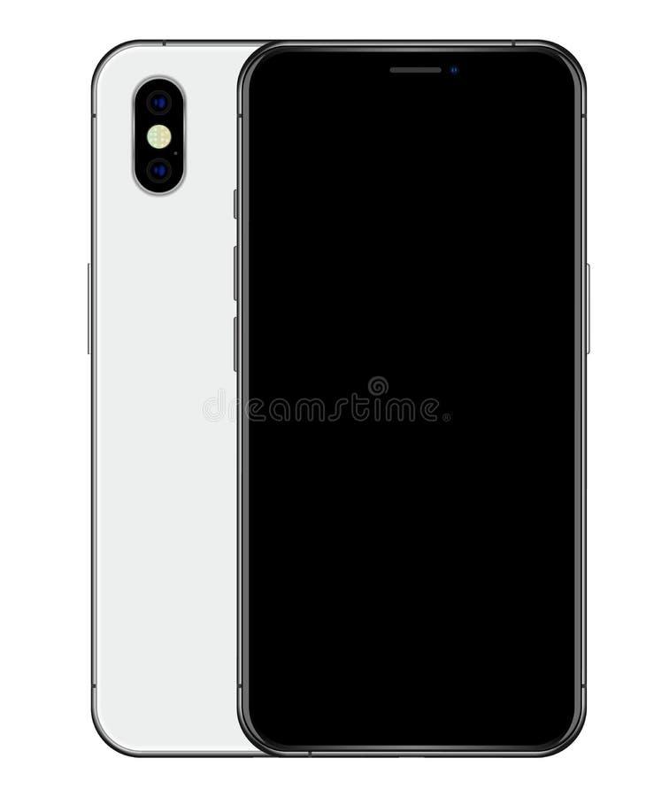Realistisk skärm för silvertelefonsvart och tillbaka sida med dualcameraenheten royaltyfri illustrationer