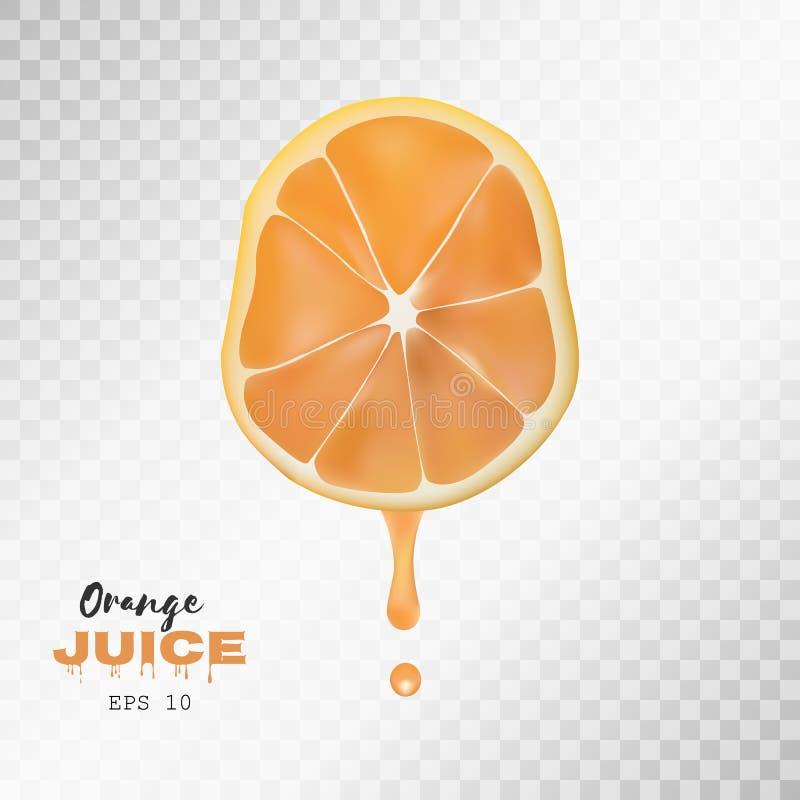 Realistisk skivad apelsin för vektor med droppe av fruktsaft genomskinlig bakgrund royaltyfri illustrationer
