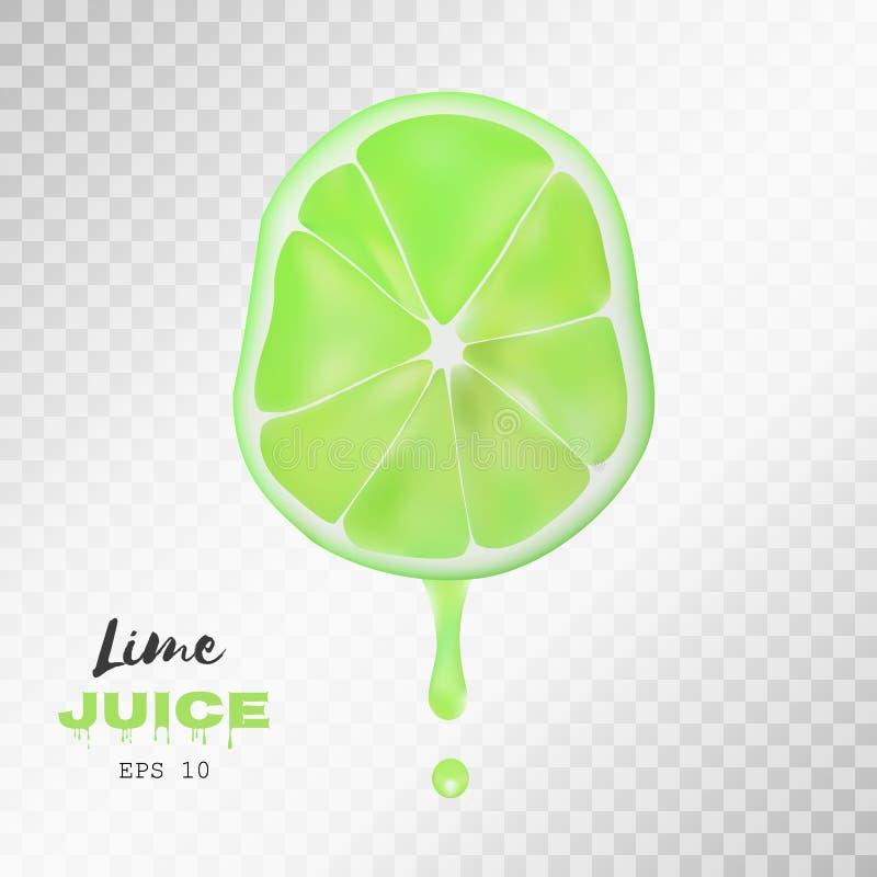 Realistisk skivad limefrukt för vektor med droppe av fruktsaft genomskinlig bakgrund vektor illustrationer