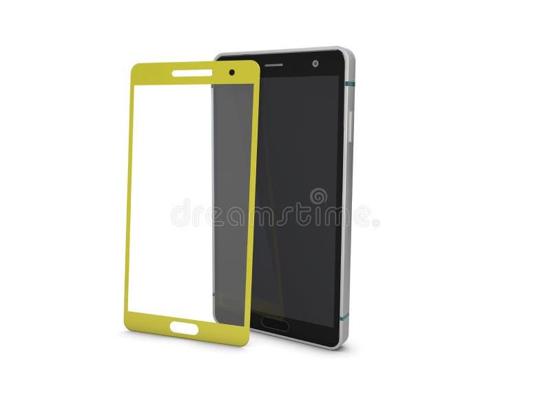 Realistisk smartphone med skärmen av smartphonen modell för illustration 3d stock illustrationer