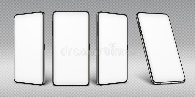Realistisk smartphonemodell Mobiltelefonram med isolerade mallar för tom skärm, olika sikter för telefon Vektormobil vektor illustrationer