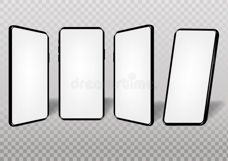Realistisk smartphonemodell vektor illustrationer