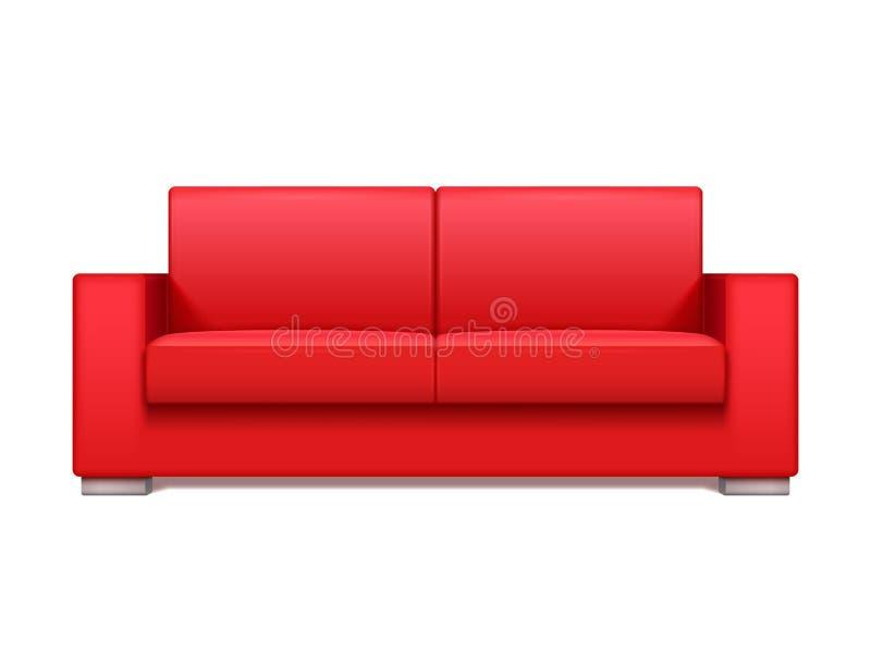 Realistisk soffa för rött läder för inre vektorillustration för modern vardagsrum royaltyfri illustrationer
