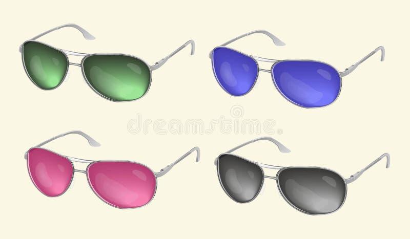 Realistisk solglasögon, ögonexponeringsglassamling, på en ljus bakgrund vektor illustrationer