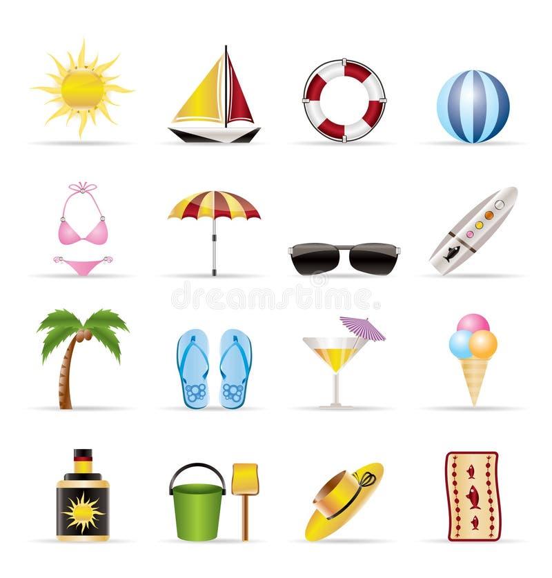realistisk sommar för feriesymboler royaltyfri illustrationer