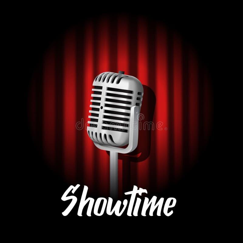 realistisk stående mikrofonillustration för tappning 3D med den röda gardinen med etappen för karaktärsteckningljusshow royaltyfri illustrationer