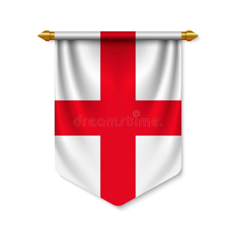 realistisk standert 3d med flaggan royaltyfri illustrationer