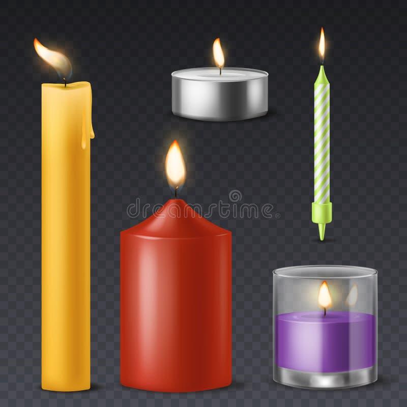 Realistisk stearinljus För födelsedagferie för levande ljus som undersöker det romantiska vaxet bränner 3d, varmt symbol för bran stock illustrationer