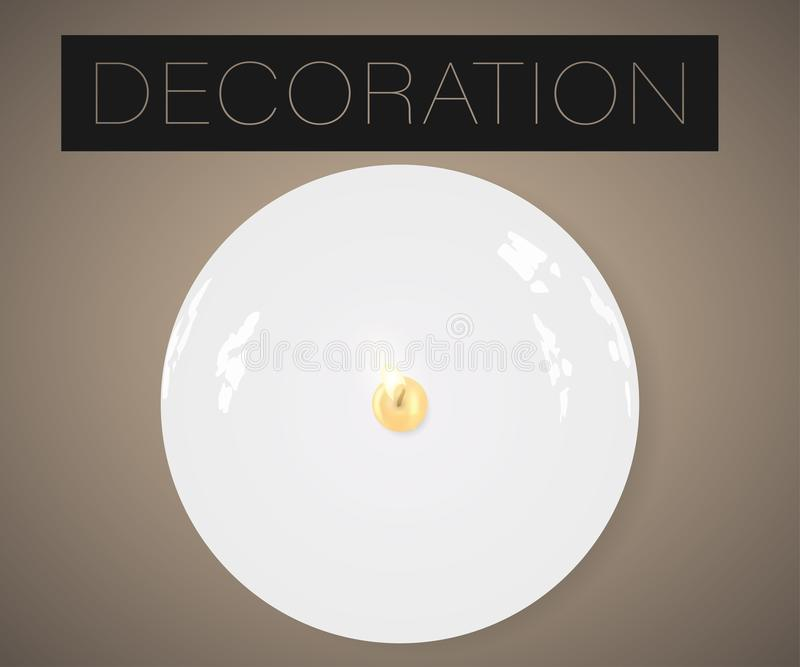 Realistisk stearinljus för vektor på den isolerade plattan med ljust royaltyfri illustrationer
