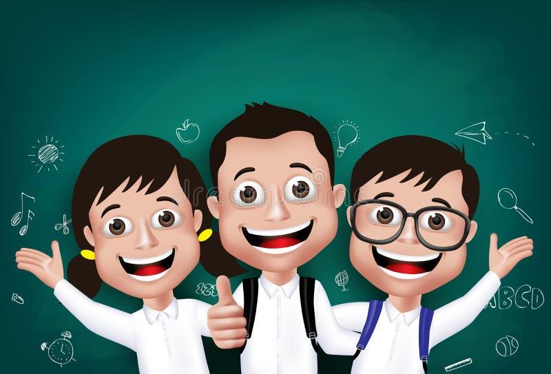 realistisk student Boys för barn 3D och lyckliga flickor vektor illustrationer